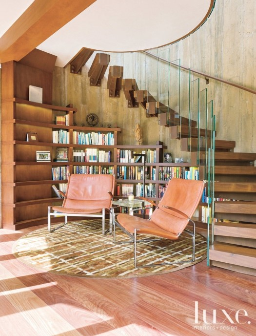 Library 1b Library space tucked into staircase, custom rug (Photo David O Marlow for Luxe) (874x1194).jpg