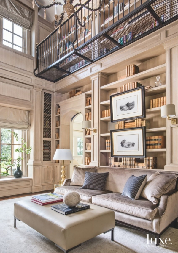 Library 4 white oak panelled double-height with metal upper balconym sofa from Hickory Chair (photo Peter Vitale for Luxe)